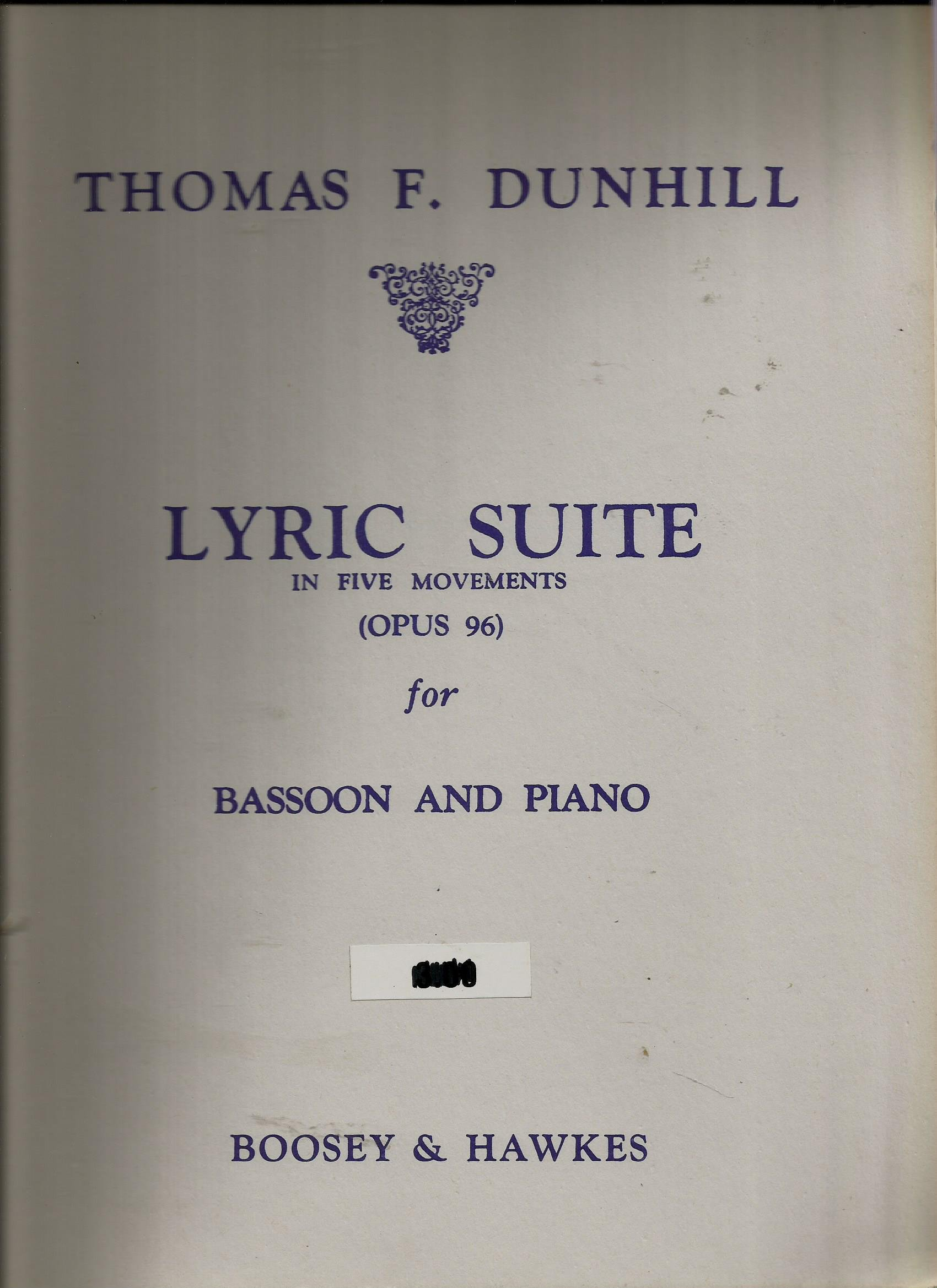 Thomas F. Dunhill Lyric Suite for Bassoon & Piano Op.96 Boosey & Hawkes