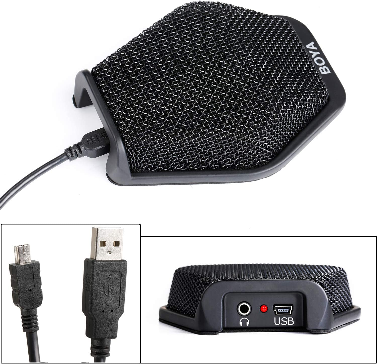 BOYA USB Conference Condenser Microphone, Office Computer Laptop PC Microphone for Windows Mac Dictation, Recording, YouTube, Conference Call