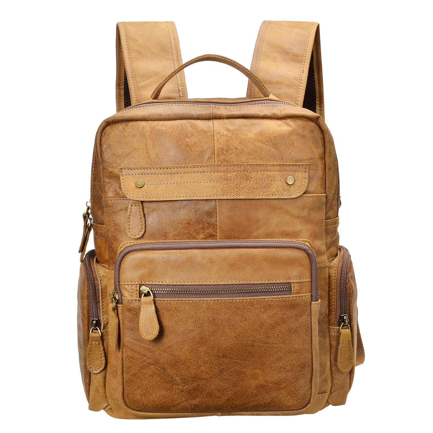 Mens Genuine Leather Backpack Fit 14 Laptop Brown Cowhide Large School Bags Large Vintage Leather Travel Rucksack Fast Post To Be Distributed All Over The World Kids & Baby's Bags