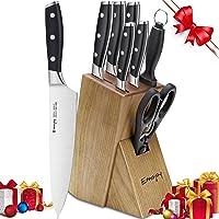 Emojoy Set coltelli, 8 Pezzi Coltelli da Cucina Set di Coltelli da Cucina Professionali Chef, Ceppo coltelli, Set di Coltelli in Acciaio Inox Inossidabile con Base di Legno