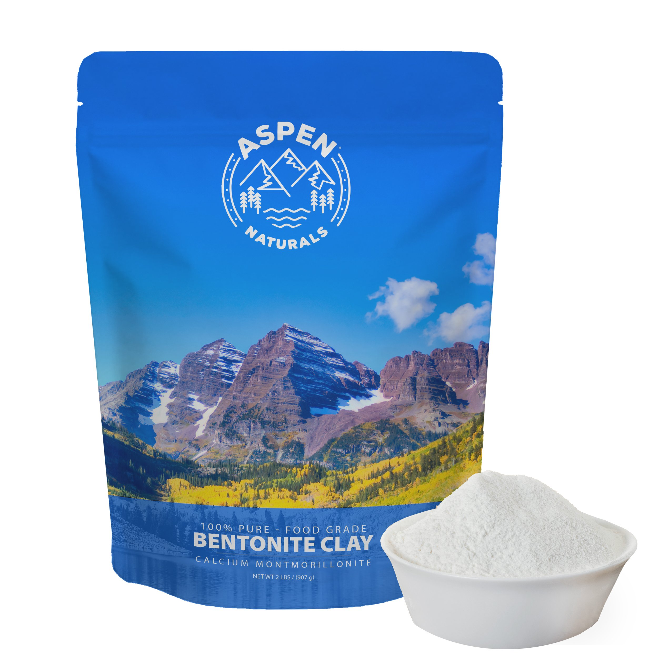 Food Grade Calcium Bentonite Clay - 2 LB Bentonite Montmorillonite Powder - Safe to Ingest for The Ultimate Internal Detox or Make a Clay Face Mask for The Best Natural Skin Healing Powder by Aspen Naturals® (Image #2)