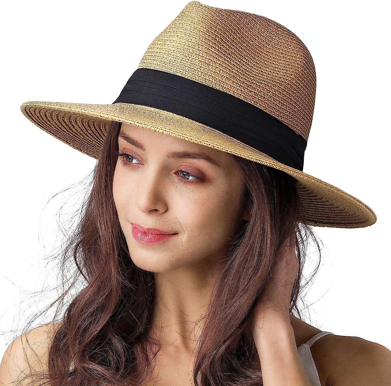 Womens Mens Wide Brim Straw Panama Hat Fedora Summer Beach Sun Hat UPF  Straw Hat for Women at Amazon Women's Clothing store