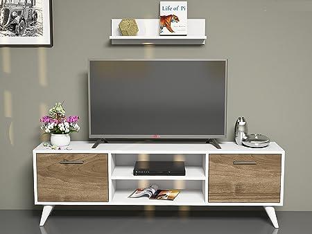 HORUS Mueble salón comedor para televisión con 2 puerta y estante - Blanco / Nogal - Mueble bajo para televisor - Mesa de Televisión en diseño elegante: Amazon.es: Hogar