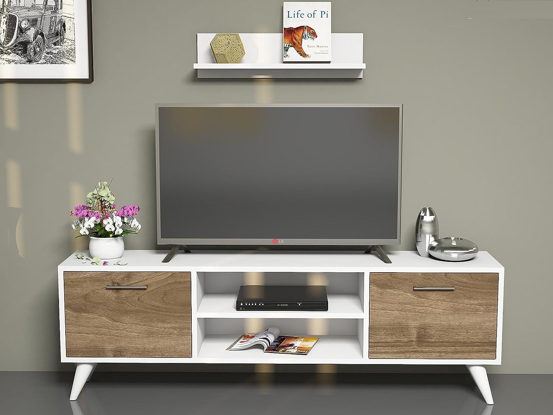 Horus Wall Unit White Walnut Tv Lowboard Tv Unit Tv Amazon Co  # Meuble Pc Tv