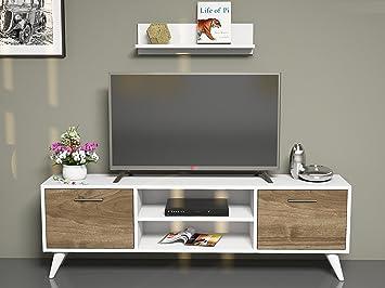 HORUS Meuble TV bas - Blanc / Noyer: Amazon.fr: High-tech