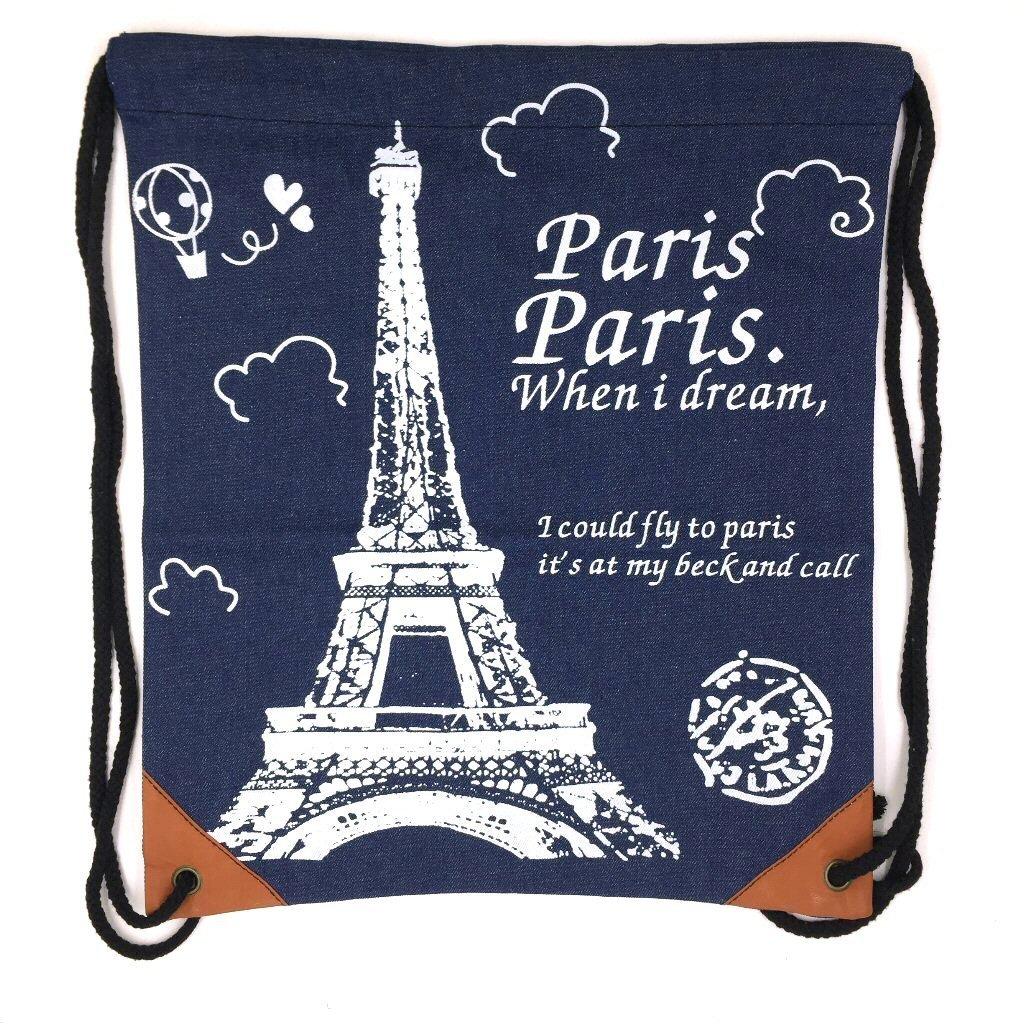 Tapp Collections キャンバス 巾着バックパック, サックパック, バッグ B01FJC5GK2 Paris / Dark Denim