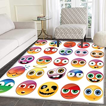 Emoji Zone Tapis Pop Art Style Dessin Animé Icônes Licorne