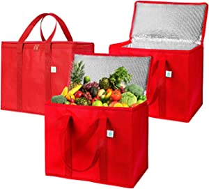 3 Pack Insulated Reusable Grocery Bag by VENO, Durable, Heavy Duty, Large Size, Stands Upright, Collapsible, Sturdy Zipper, Made by Recycled Material, Eco-Friendly (RED, 3)