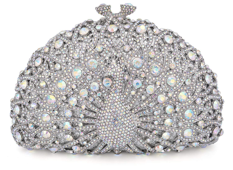Mossmon Luxury Crystal Clutch Women Peacock Rhinestone Evening Bag