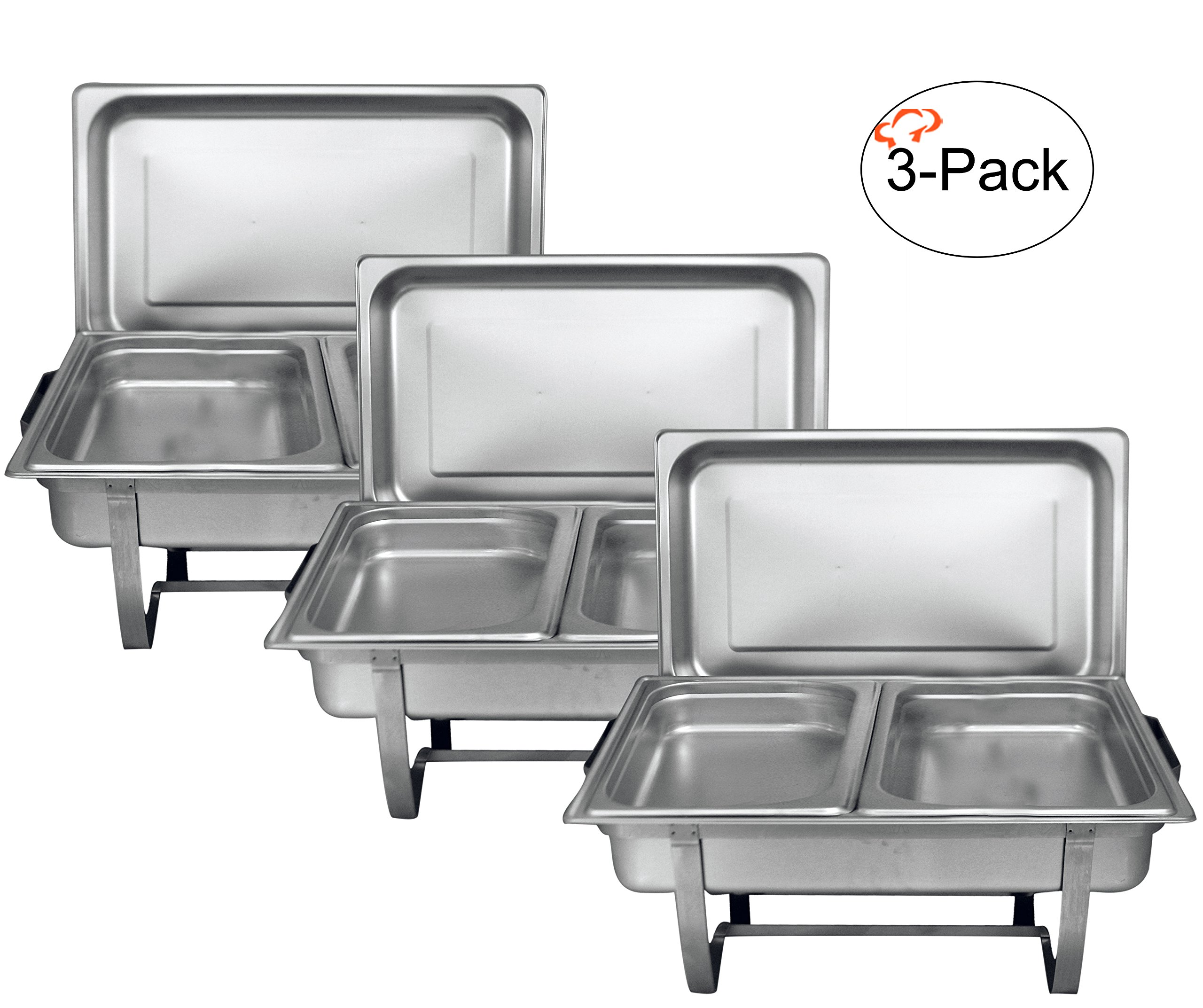 Tiger Chef 8 Quart Full Size Stainless Steel Chafer 2 Half Size Chafing Food Pans and Cool-Touch Plastic on top (3, Full Size with 1/2 Size Inserts)
