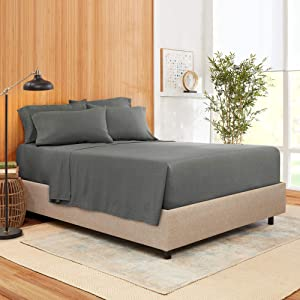 Full Size Sheet Set 6 Piece - Bamboo Blend Hotel Luxury Bed Sheets - Extra Soft Bamboo and Microfiber Blend - Breathable & Cooling Sheets - Wrinkle Free - Comfy – Full – Charcoal Gray Bed Sheets