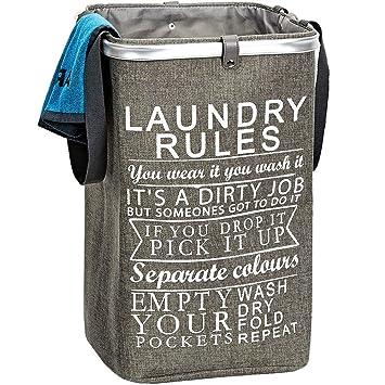 Amazon.com: Homest Cesta de ropa sucia con asa plegable, con ...