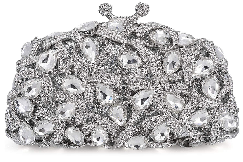Mossmon Luxury Crystal Clutch Rhinestones Evening Bag (Silver)