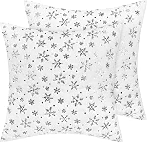 Yastouay Christmas Pillow Covers 2 Pack Snowflake Pillow Covers Luxury Warm Series Faux Rabbit Fur Pillow Cover Home Decor Cushion Cover for Sofa Couch Bed 18 x 18 Inches, Sliver