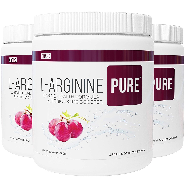 L-Arginine Pure Best Tasting L-arginine Drink Mix Formula for Blood Pressure, Cholesterol, Heart Health, and More Energy 13.7 oz, 390g Grape, 3 Bottles