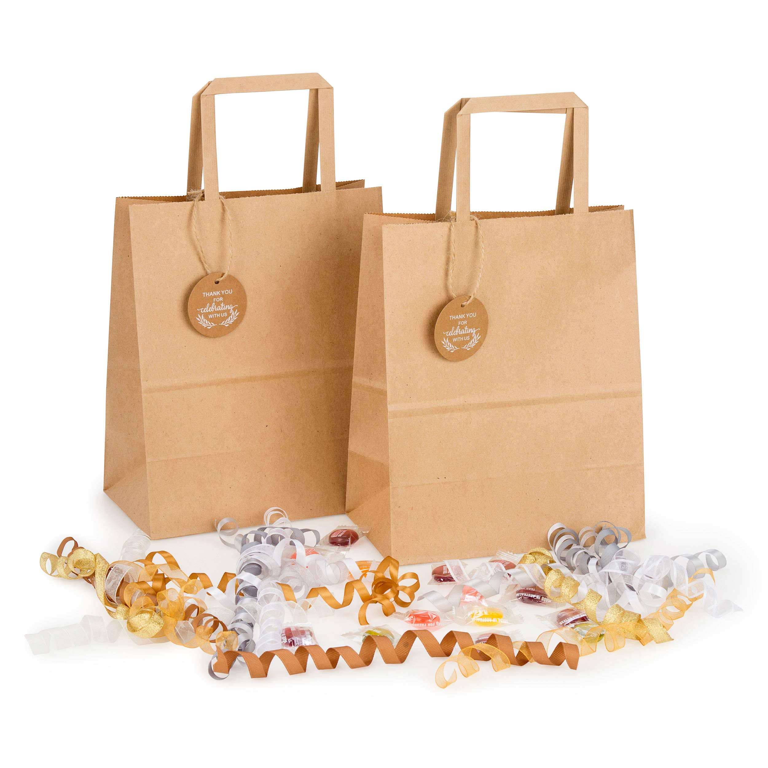 Kraft Paper Bags Bulk for Wedding Welcome Gifts, Goody, Bridal Shower, Reception, Party, Birthday, Celebration, Event, Retreat, Reunion | Set of 50 pcs, Medium 8x4.75x10 in | Includes Tags and Strings