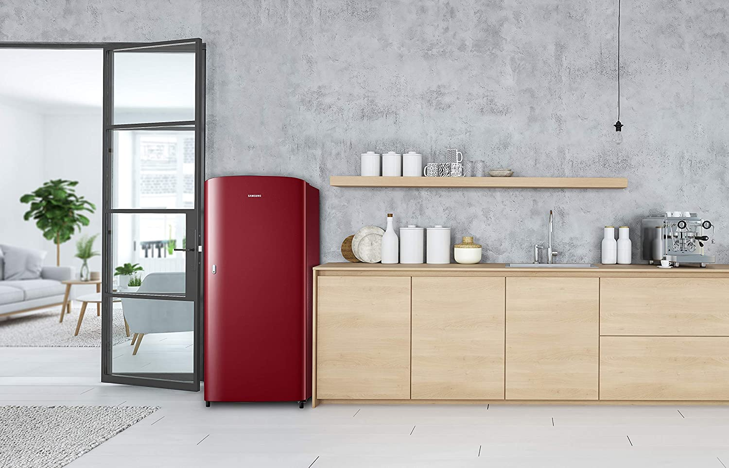 Samsung 192 L 1 Star Direct Cool Single Door Refrigerator  RR19T21CARH/NL, Scarlet Red  Large Appliances
