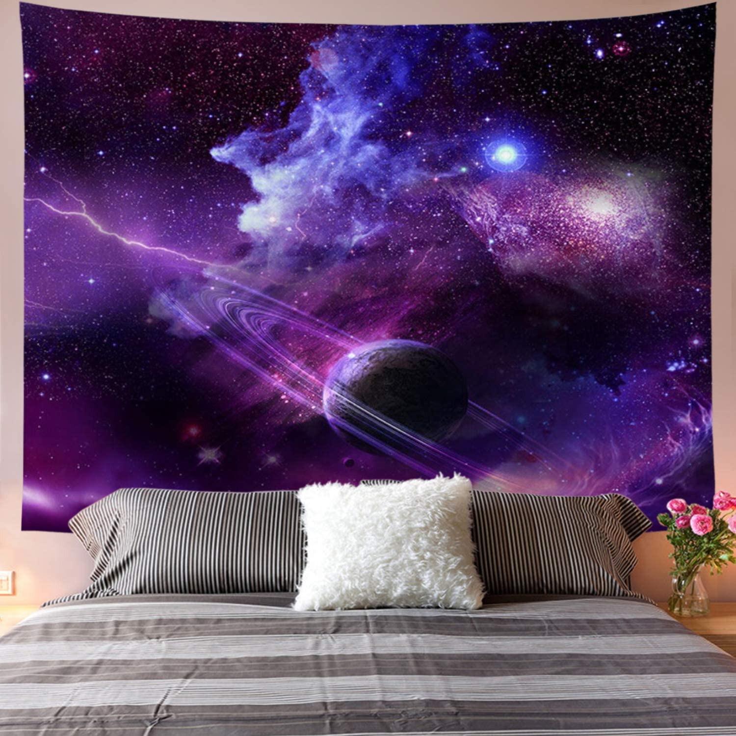 Galoker Galaxy Tapestry Starry Sky Tapestry Psychedelic Tapestry Space Landscape Tapestry Purple Starry Art Print Wall Hanging Tapestry for Home Decor(H70.8×W92.5 inches)