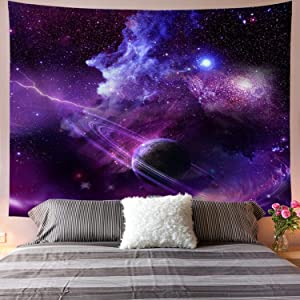 Galoker Galaxy Tapestry Starry Sky Tapestry Psychedelic Tapestry Space Landscape Tapestry Purple Starry Art Print Wall Hanging Tapestry for Home Decor(H59.1×W78.7 inches)
