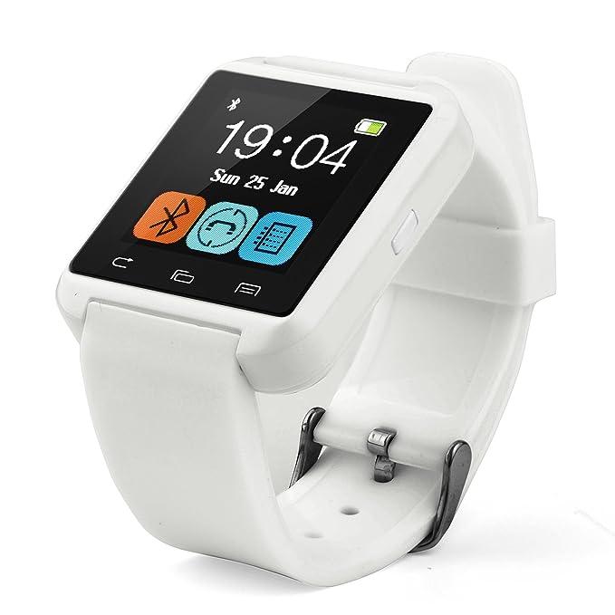 Swees® U8 Bluetooth Smart Watch Inteligente Reloj Teléfono Compañero para Android IOS Iphone Samsung Galaxy HTC,Sony (Blanco, U8)