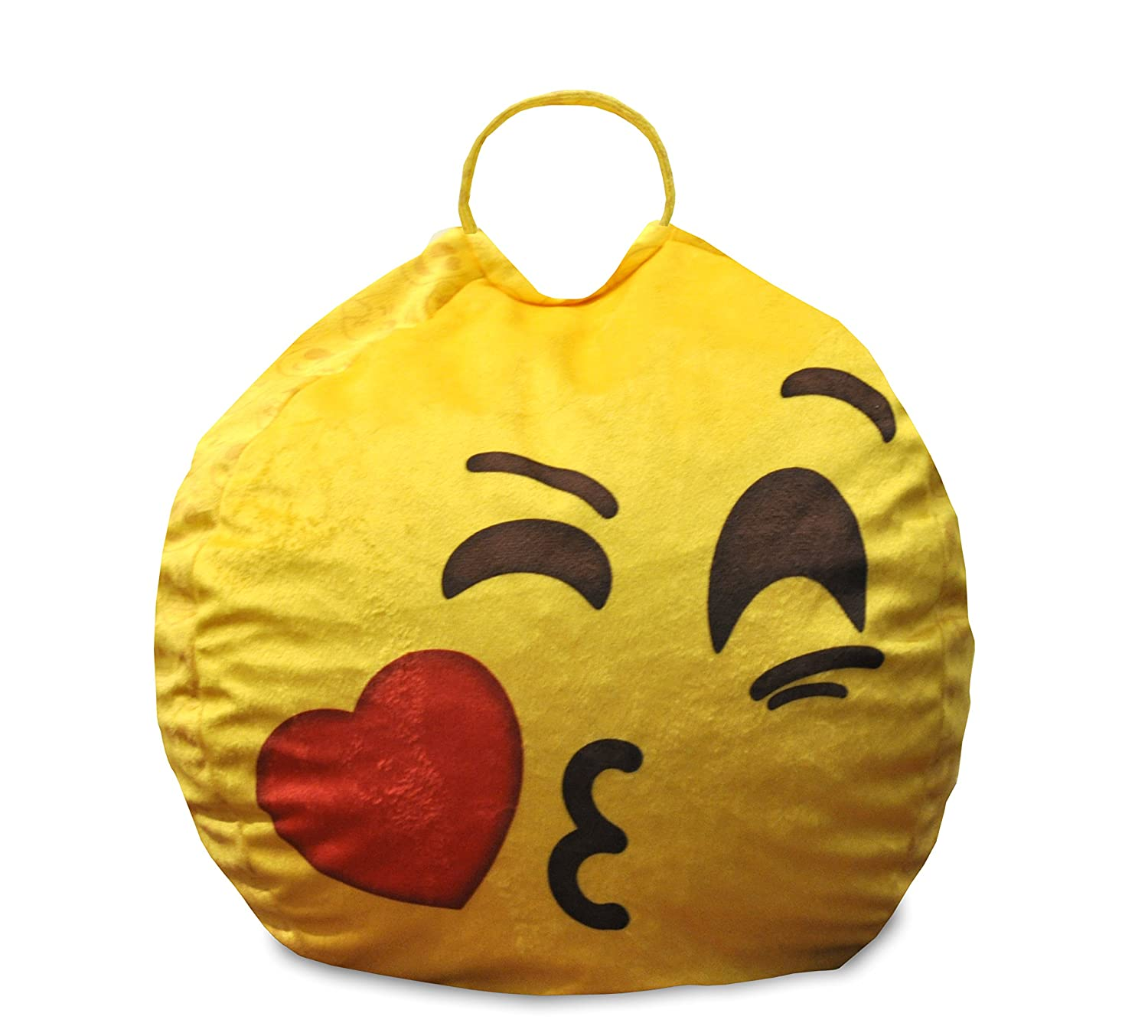 Emoji Pals Sealed with a Kids Bean Bag with Handle, Yellow, 55