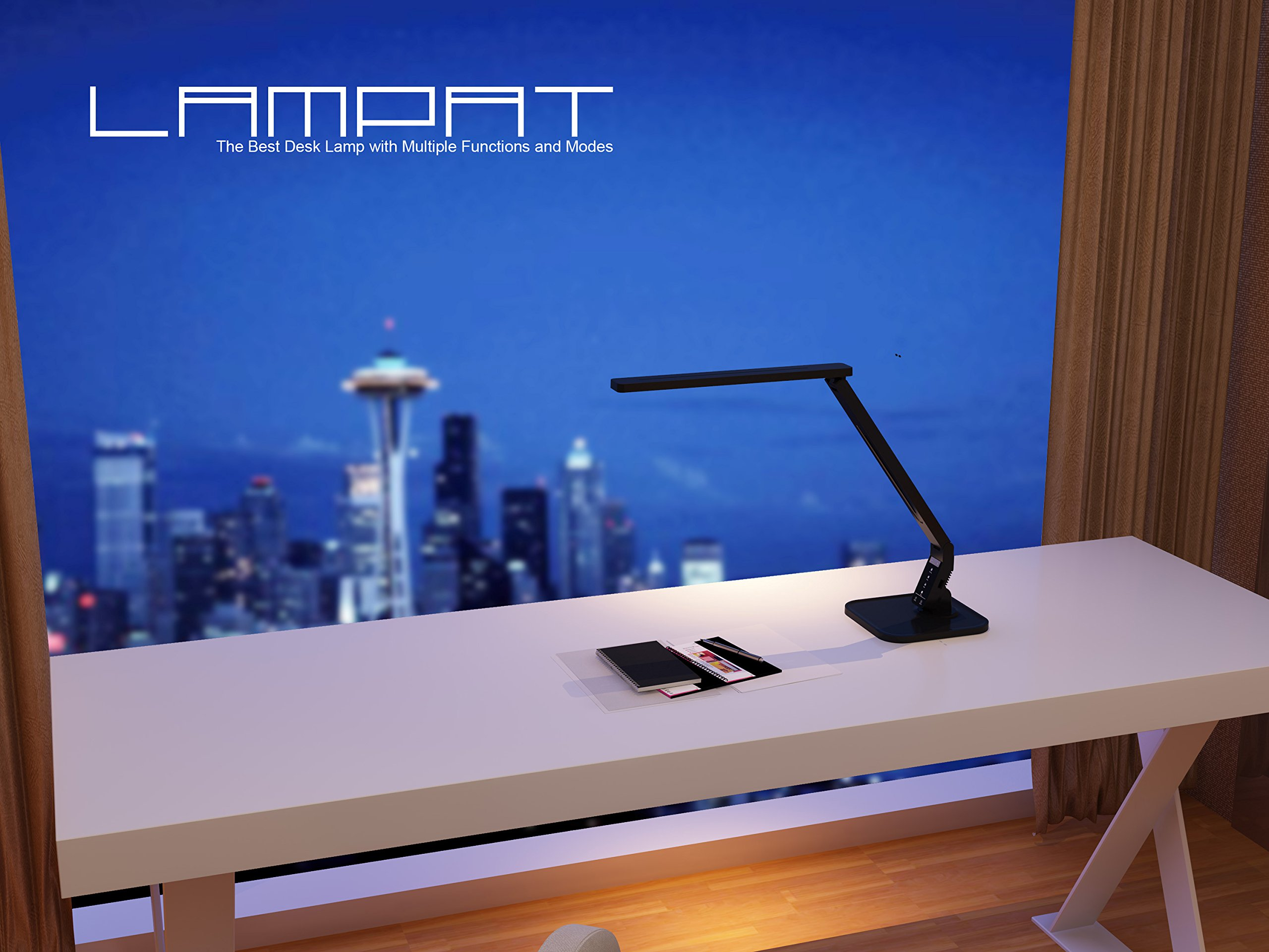 Lampat LED Desk Lamp, Dimmable LED Table Lamp Black, 4 Lighting Modes, 5-Level Dimmer, Touch-Sensitive Control Panel, 1-Hour Auto Timer, 5V/2A USB Charging Port) by LAMPAT (Image #2)