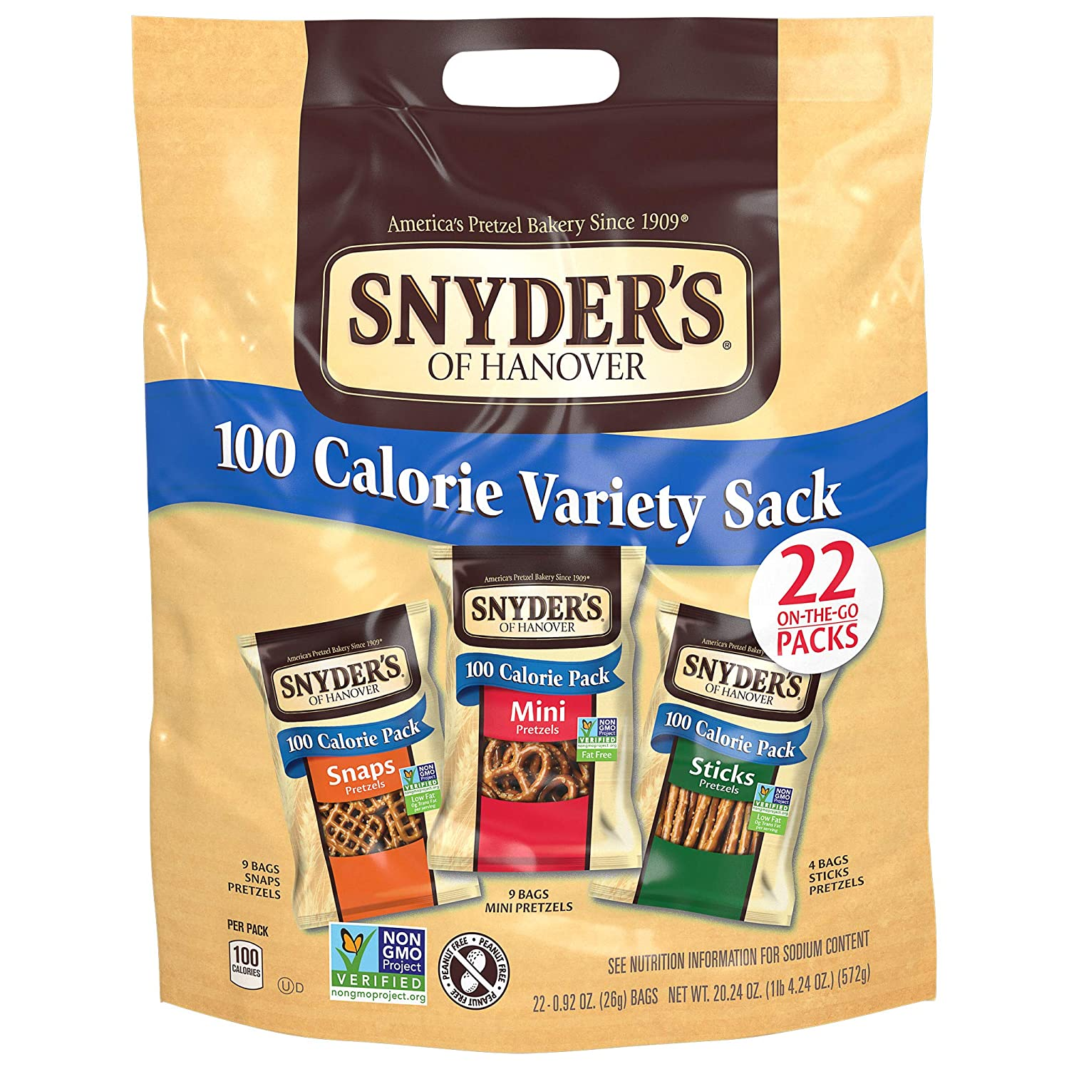 Snyder's of Hanover Pretzels Variety 100 Calorie Pack, 22 Count