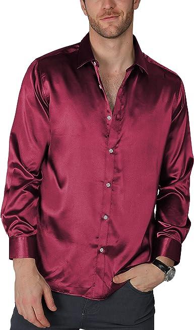 VICALLED - Camisa de satén Hombre, Ajustada, de Seda, Casual, para Baile, Fiesta, Manga Larga, sin Arrugas, Esmoquin - Rojo - XS: Amazon.es: Ropa y accesorios