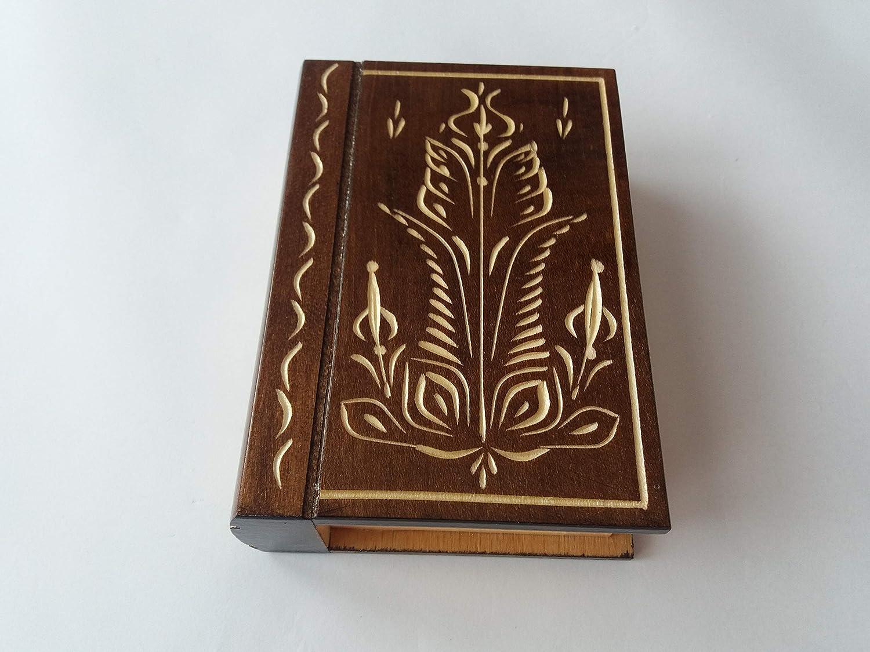 Marron de bo/îte /à bijoux surprise puzzle secret bo/îte de livre magique avec compartiment secret /à lint/érieur teaser