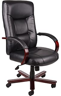 Boss Office Products B8901 Executive Leather High Back Chair With Mahgany  Finish In Black