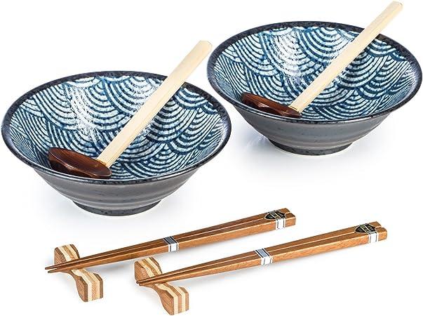 Seikaiha japonais Ramen Noodle Bowl Set