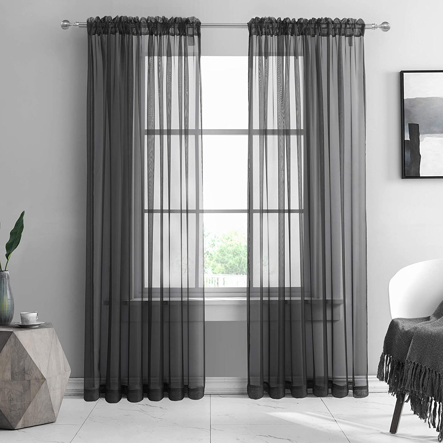 KEQIAOSUOCAI Sheer Black Curtains 84 Inch for Dining Living Room Soft Voile Rod Pocket Sheer Panels for Backdrop Bedroom Canopy 52Wx84L Set of 2