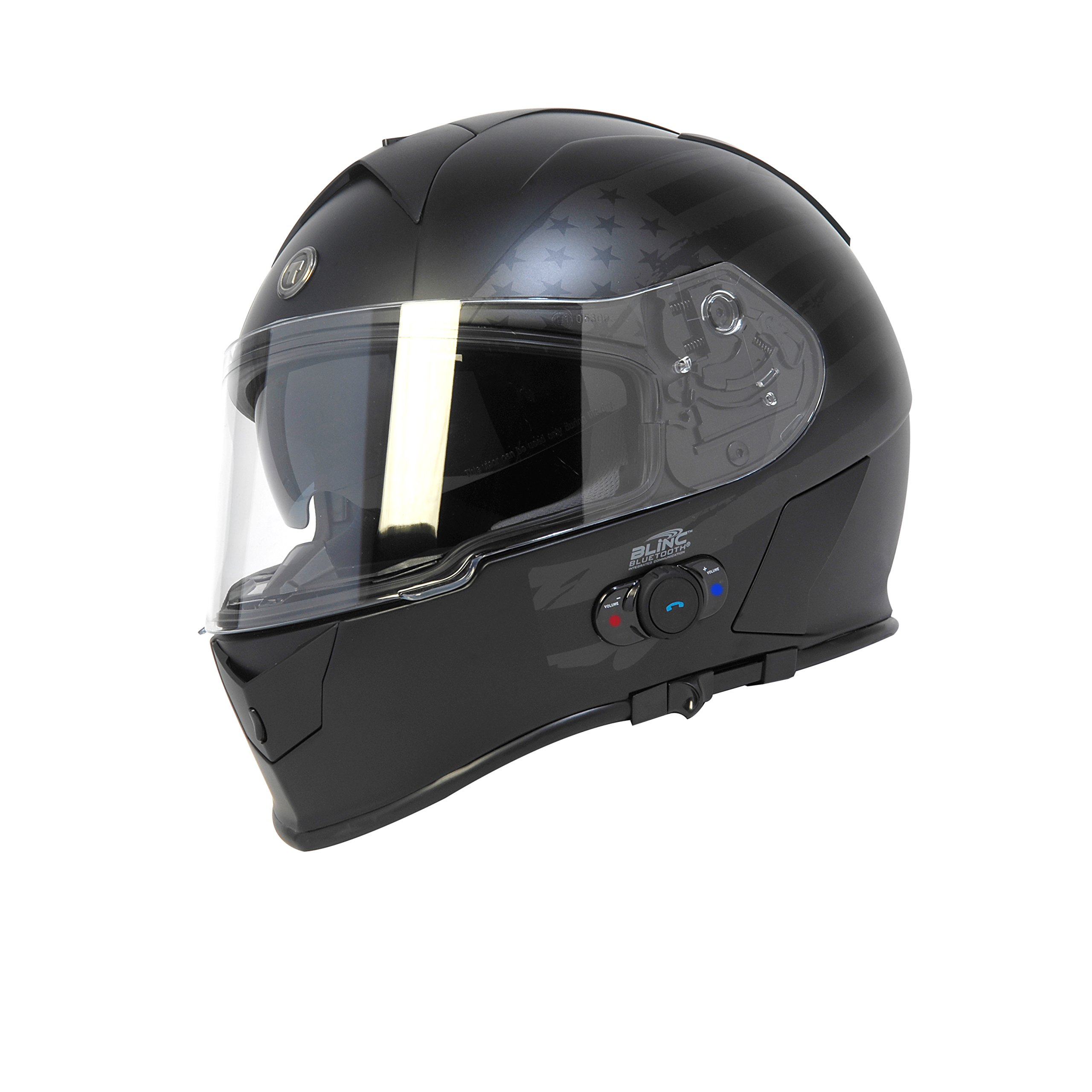 Torc T14B Bluetooth Integrated Mako Full Face Helmet with Flag Graphic (Flat Black, X-Large)