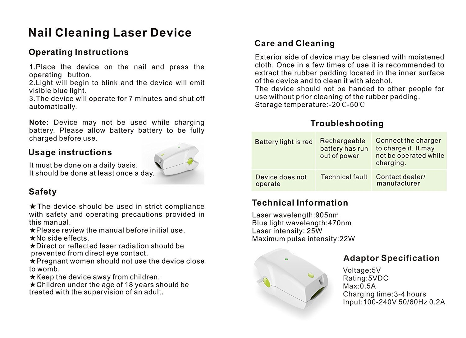 Rechargeable Nail Fungus Laser Treatment Instrument For