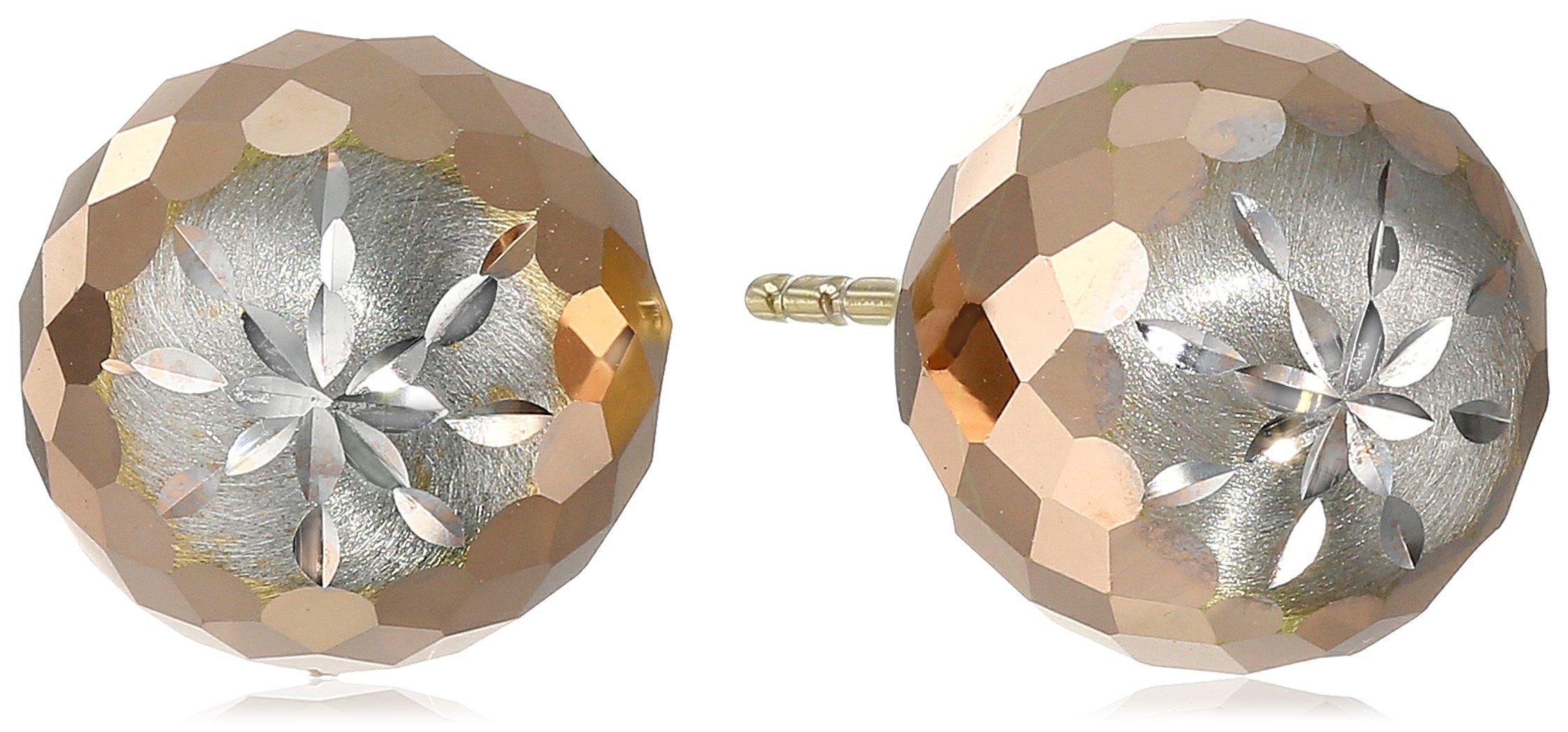 14k Tricolor Gold 9.4mm Diamond-Cut Ball Studs