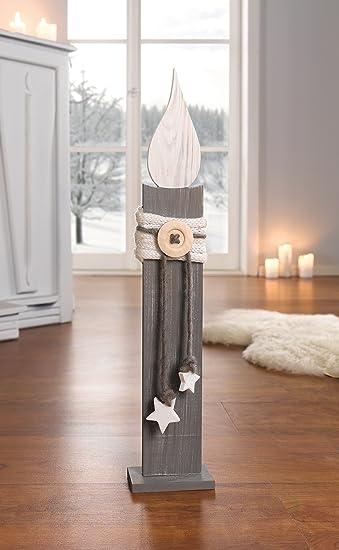 Weihnachtsdeko Shabby Chic.Deko Säule Kerze 57 Cm Holzkerze Holzsäule Weiß Grau Shabby Chic