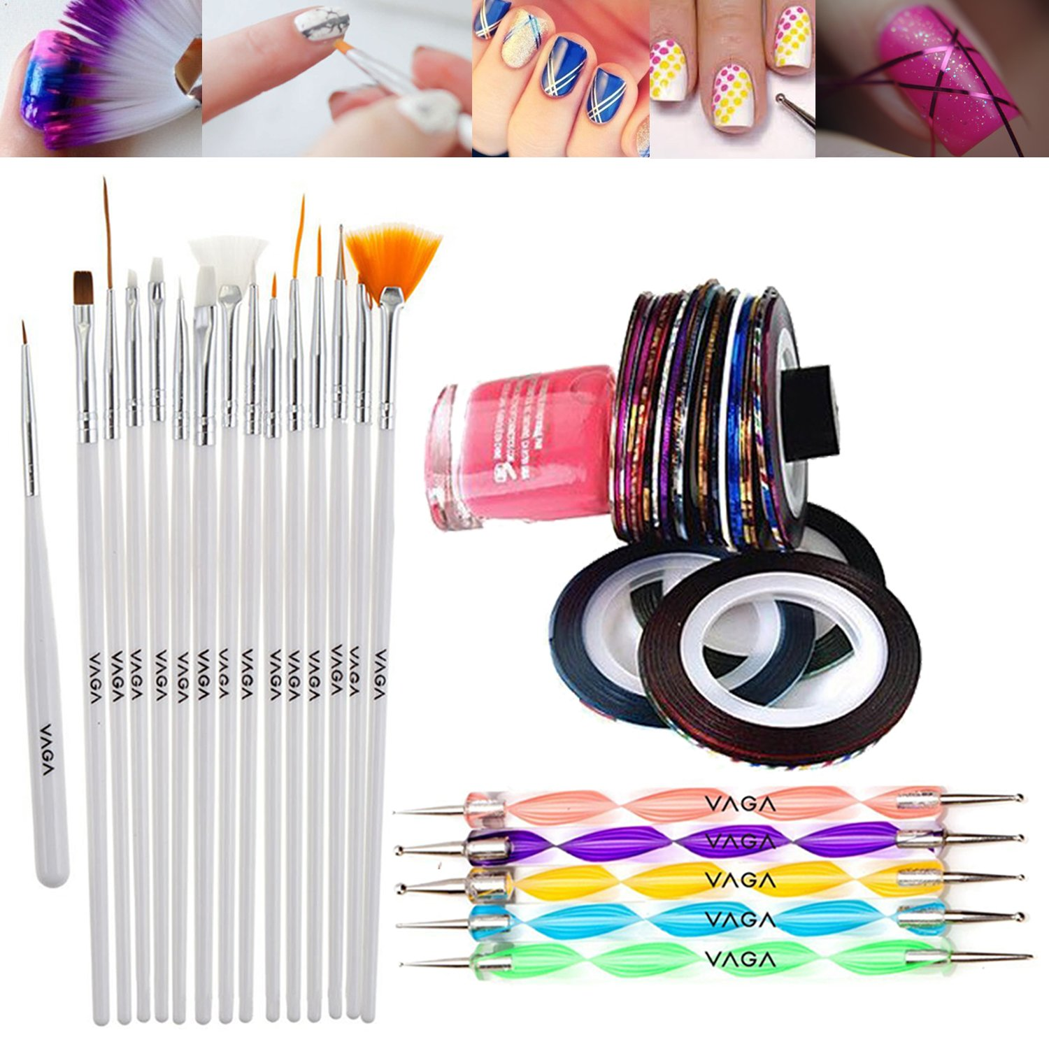 Premium Quality Professional Nail Art Set Kit With 5 Double Ended Dotters / Dotting / Marbling Tools And 10 Rolls Striping Tape / Lines Decorations Strips And 15 Brushes / Liners By VAGA