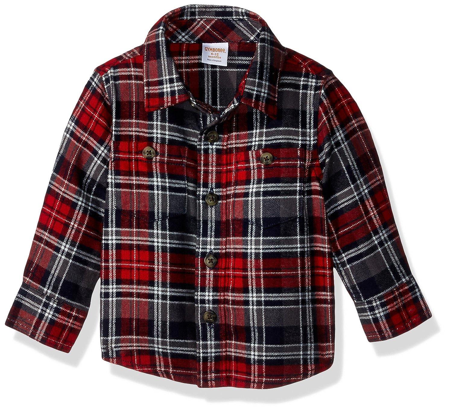 a948e58df Amazon.com: Gymboree Baby Boys Long Sleeve Plaid Flannel Shirt, red ...
