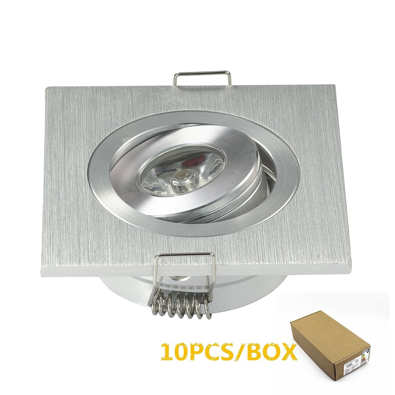 10pcs Mini Einbaustrahler/Deckenleuchte, quadratisch, LED 3 W, hohe Leistung, für Wohnzimmer/Schrank/Schlafzimmer