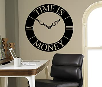 Amazoncom Clock Time Is Money Wall Decal Business Vinyl Sticker - Vinyl wall decals business