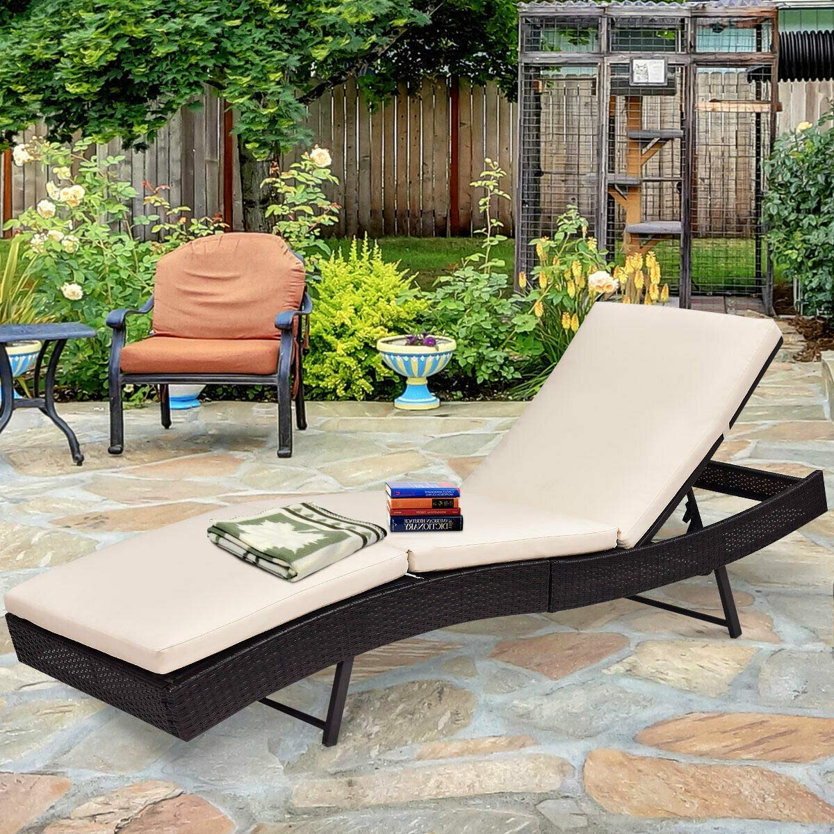 Tangkula Patio Reclining Chaise Lounge, Outdoor Beach Pool Yard Porch Wicker Rattan Adjustable Backrest Lounger Chair by Tangkula