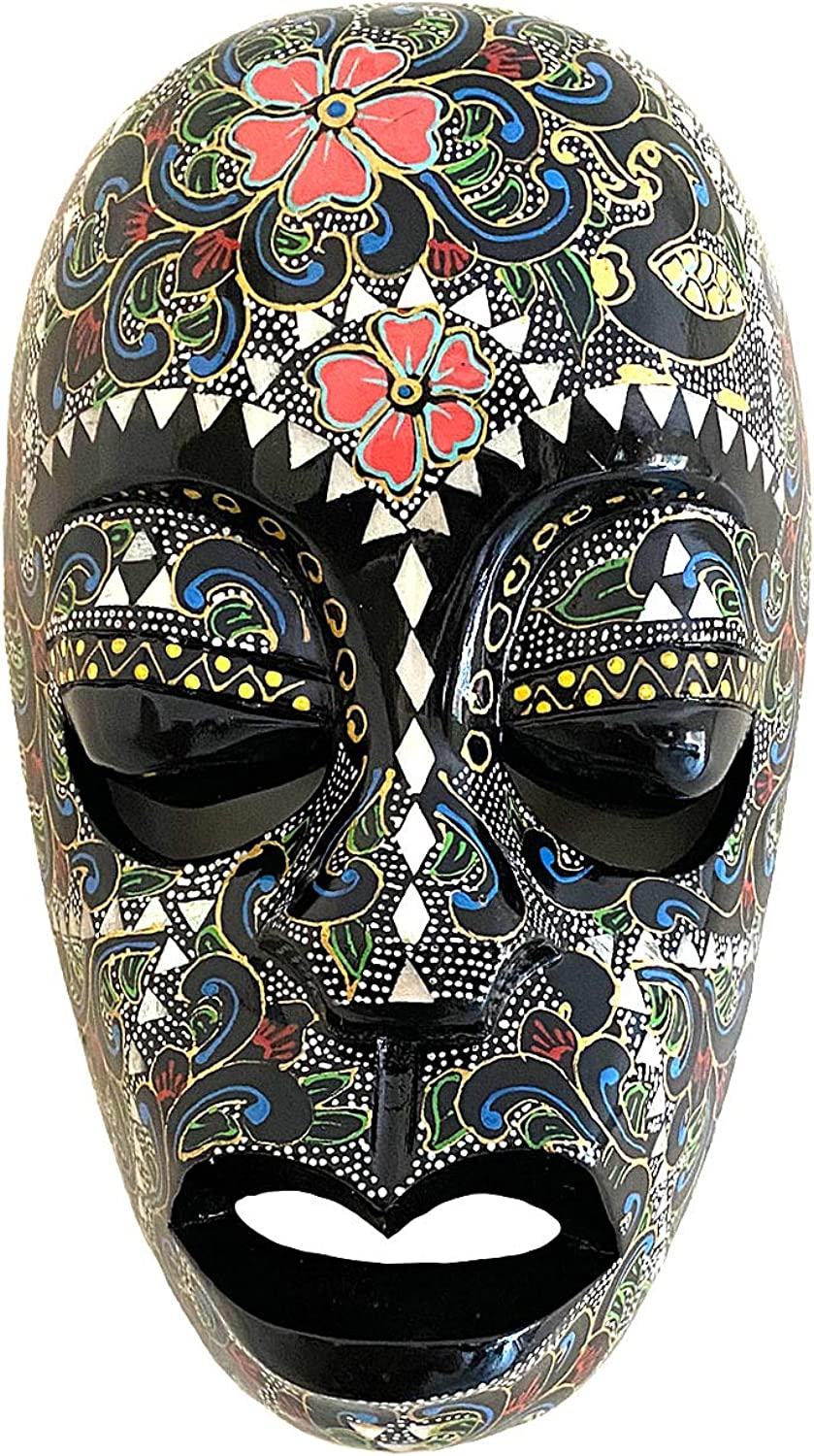 African Mask Wall Hanging Decor Sacred Goddess Peace Blessing Wooden Hand Crafted Tiki Mask With Mother Of Pearl Clothing Amazon Com