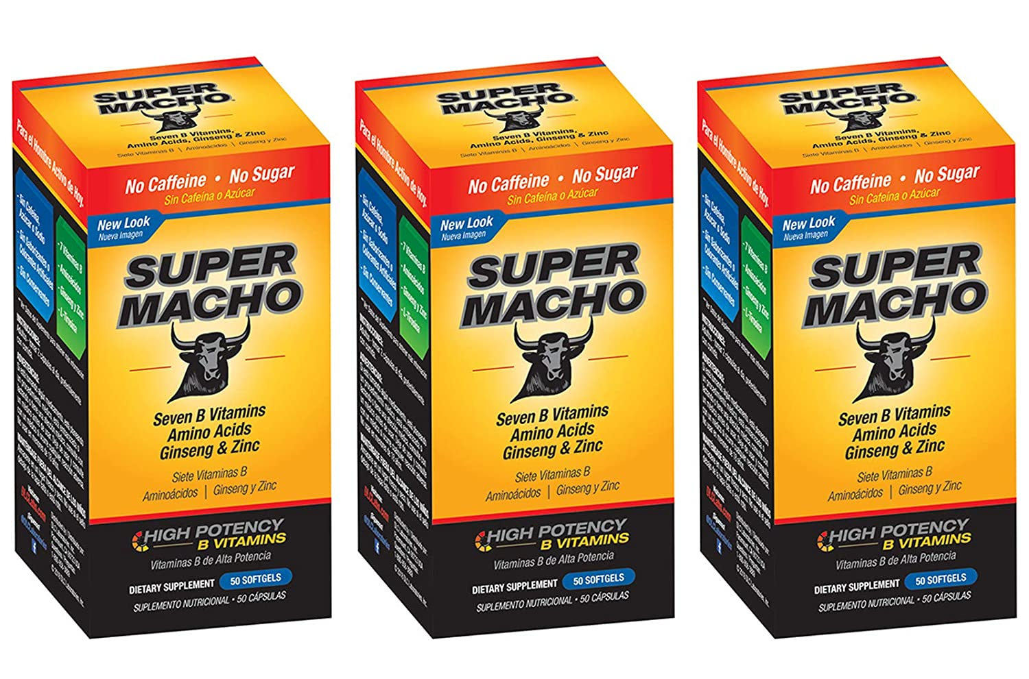 Amazon.com: Super Macho Dietary Supplement with High Potency B Vitamins, No Preservatives, Sugar or Caffeine, Made in USA, 50 Softgels (3 Bottles): Health ...