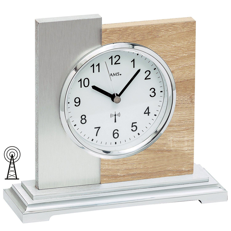 AMS 5151 Tischuhr Funk silbern modern Holz Sonoma Optik mit Aluminium Auflage
