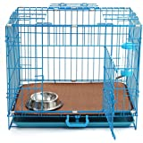 Haige Pet Dog Crate | 24'' Double Door Folding Metal Dog Cage with Removable ABS Plastic Floor Tray