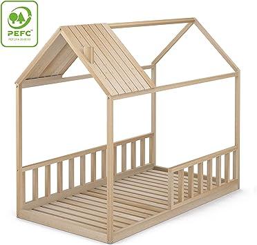 Cama Infantil Tipo Montessori, Casita Madera Natural con Barrera Barandilla, para niño y niña, 90 x 190 cm: Amazon.es: Hogar