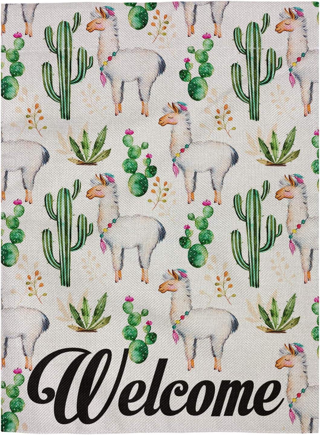 """pingpi Llama Garden Flag, Garden Flag Cacti, Desert, Alpaca Garden Flag Double Sided Burlap 12.5""""x18"""""""