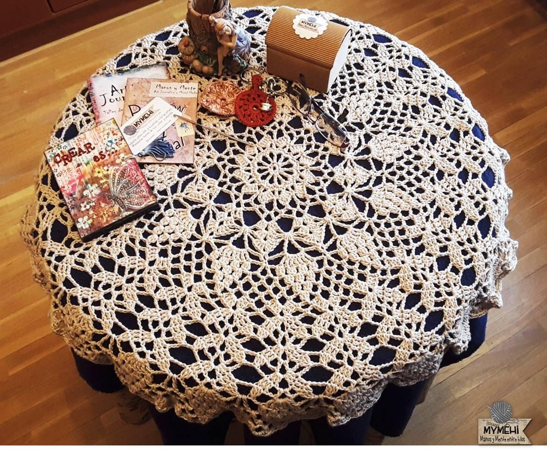 Tapete redondo mandala de 80 cm., algodón color lino: Modelo ...