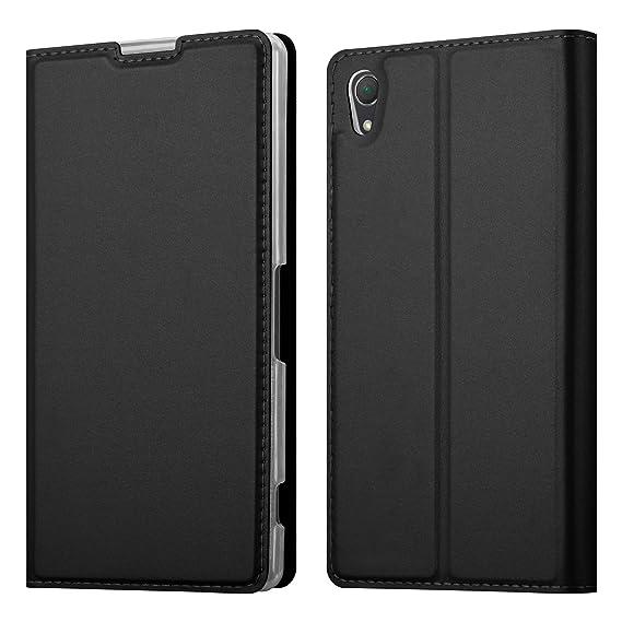 Cadorabo Hülle für Sony Xperia Z2 - Hülle in SCHWARZ – Handyhülle mit Standfunktion und Kartenfach im Metallic Look - Case Co