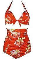 Cocoship 50s Retro Tie Front Bikini Set Floral Print Halter High Waist Ruched Swimsuit(FBA)